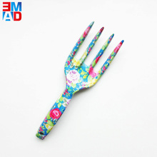 High quality colorful design small floral printing garden fork hand tools