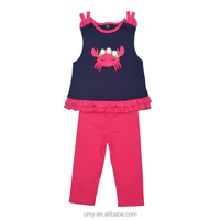 Baby Girls Crab Applique Sleeveless Clothes Bulk Wholesale Child Clothing