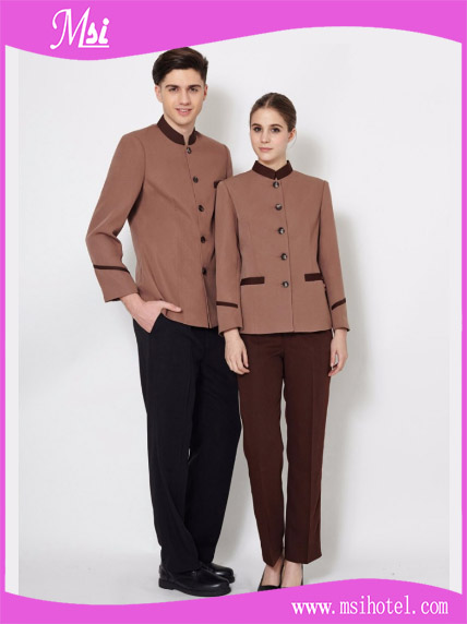 Brown dirt-proof cleaning staff uniforms for men and women