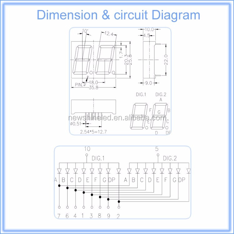 China Top supplier 0.80 inch Orange 7 segment common anode 2 digit large seven segment display for led digits display