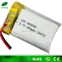 602030 china backup 3.7v 300mah li-polymer rechargeable battery for mp3