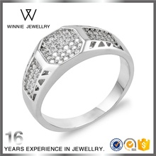 Latest Designs Modern Diamond Stone Gold Luxurious Princess Cut Ring designs For Men Couple RC0828442957