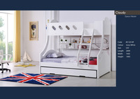 2016 Twin over Full Modern 2-piece Bunk Bed with Trundle bedroom sets was made of E1 MDF board for kids
