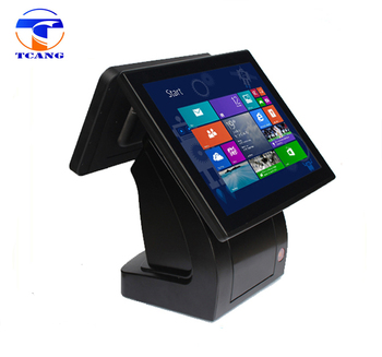 pos terminal dual screen all in one restaurant retail touch pos machine with printer