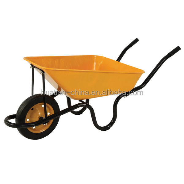 Heavy load poly rust proof tray and steel handles with cushion grips,wheel barrow