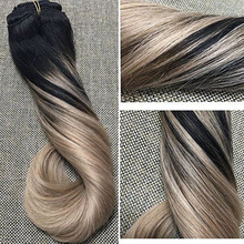 clip in double drawn balayage remy hair extension 3tones clip in hair