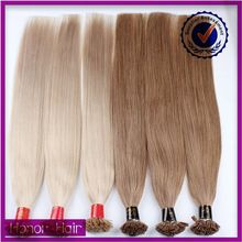 Wholesale Easy Wear Keratin Pre bonded hair extensions light color flat tip hair