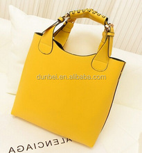New women handbags 2015 trendy fashion european design yellow leather handbag ladies