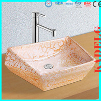Decoration Good Quality Bathrooms Ceramics Chinese Art Basin Sink(Red crack)