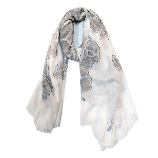 New Fashion High- end Printed Polyester Shawl Scarf with Fringe