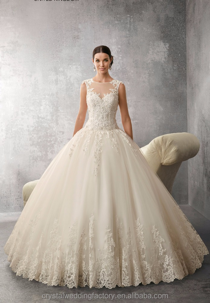 Latest Gowns Alibaba Elegant Crystal beaded High Neck A Line ball Gown Wedding Dresses Bridal Gowns with lace LWA20