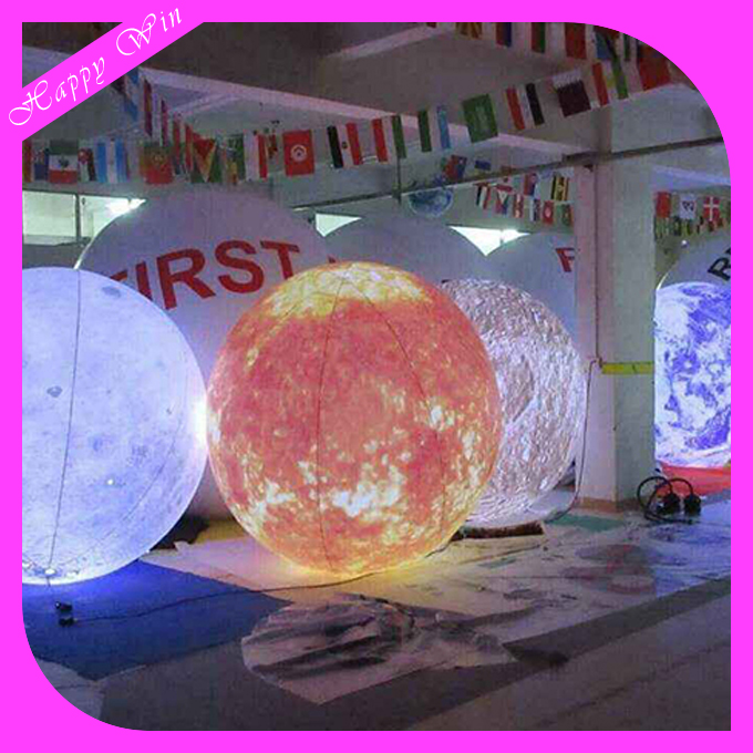 2017 Led Lighting Inflatable Hanging Nine Planets/Solar System Planet Balloon For Sale