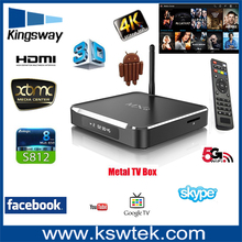 High stable 2GB ram 8GB rom m10 android tv box quad core mail 450 mxq metal case with clock