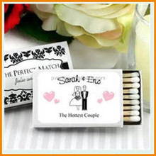 Europen standard quality wooden match sticks with custom design match box for wedding favours matches