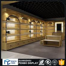 Hot retail wooden bags shop interior design bags display showcase and stand