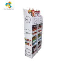 Advertising Pos Folding Exhibition Stand Temporary Cardboard Corrugated 4 Tier Tray Drink Carton Display