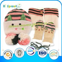 Fashion New Style Cute Cat Pattern 2014 Winter Baby Hat Scarf Glove Set