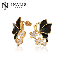 Popular stylish black wing butterfly flower earring E658