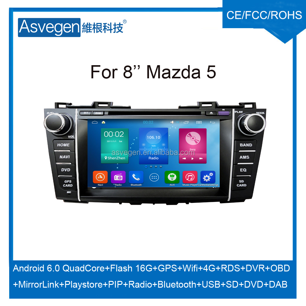Android Car DVD Player For 8inch Mazda 5 Car GPS Support Buletooth Radio Wifi Playstore With Car Spare Part