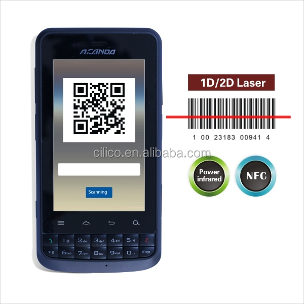 barcode scanner mobile phone with 1D/2D barcode scanner, wifi ,3G (IP65,4000mAH battery)