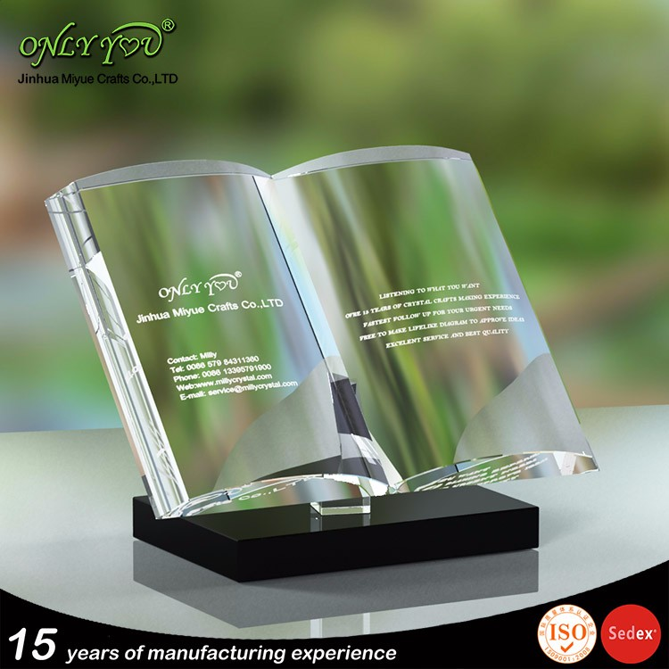 Diversified latest designs crystal book trophy for promotional gifts