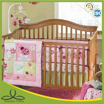 Embroidery girl design pink embroidery baby bedding