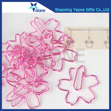 Pink color plated flower custom logo design gifts cherry blossoms shape paper clip
