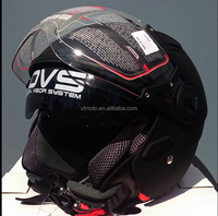 Open face road helmet, adult sizes, Matte black, 5 tick Aust. Std, dual visor