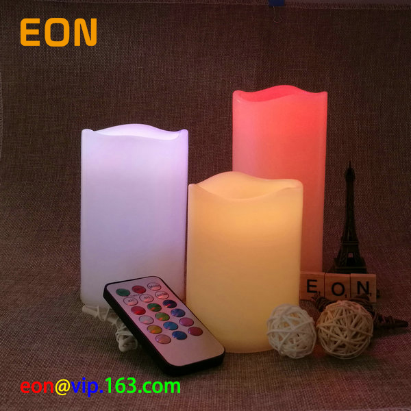 C832 Set of 3 White/Ivory Flameless LED Candles With Color Changing Timer Remote
