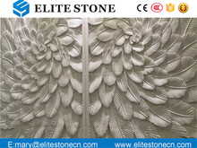 Beautiful Simple Inexpensive white Marble Leaf Pattern 3D Carved Art Wall Decor