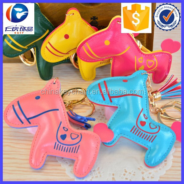 Promotional PU Horse shape leather key chain