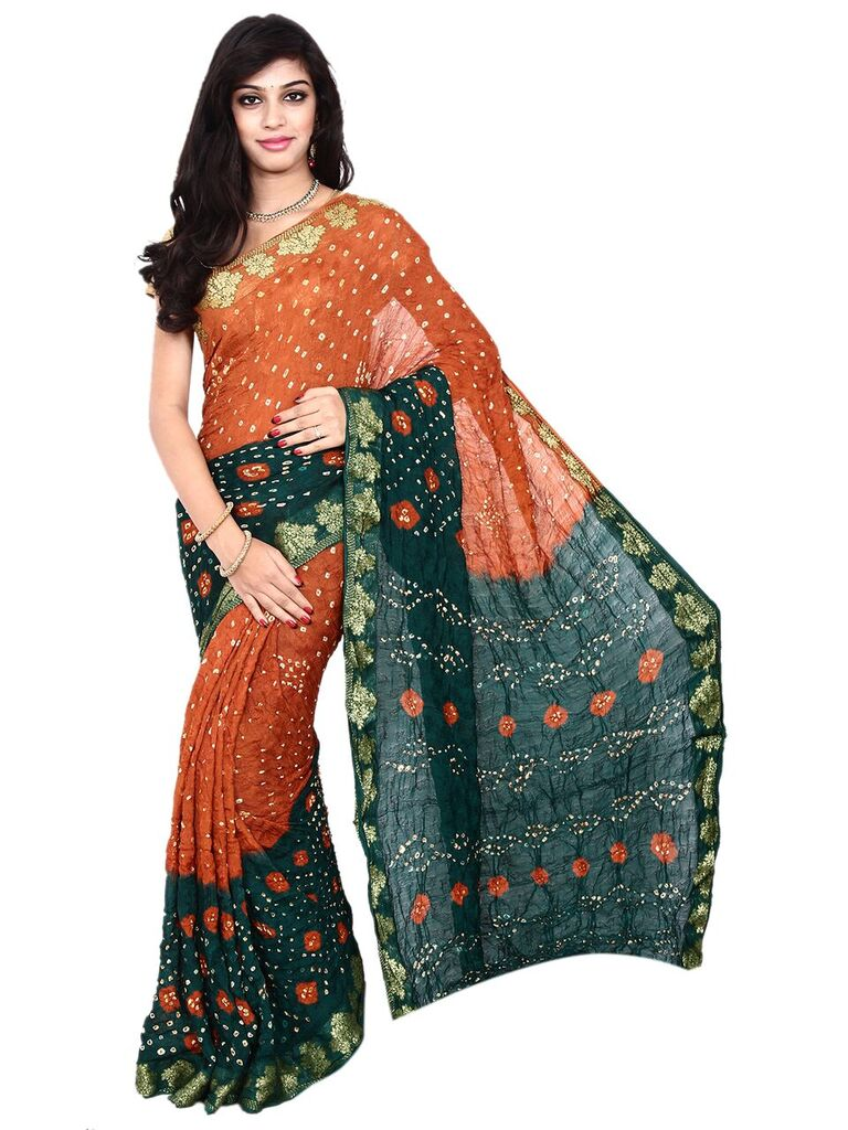Kala Sanskruti Art Silk Rust & Dark Green Bandhani Saree