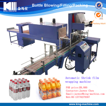 Automatic mineral water bottle shrink wrapping machine