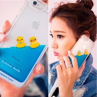 Best Price clear Rubber Duck 3D liquid plastic phone case for iphone 6