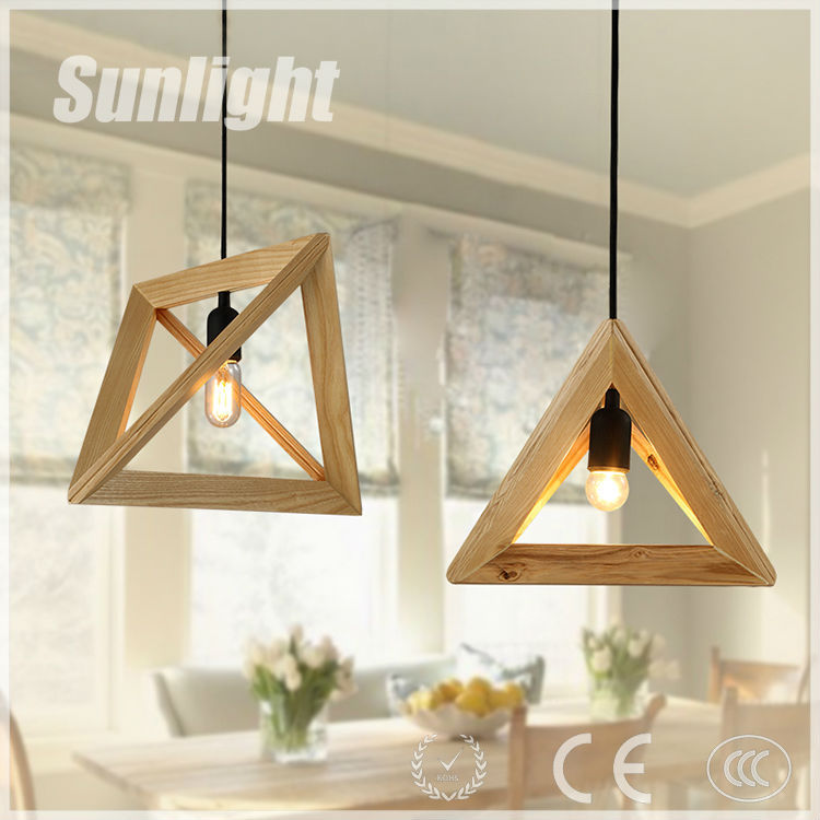 modern Retro country industrial style wooden triangle loft pendant lamp/light