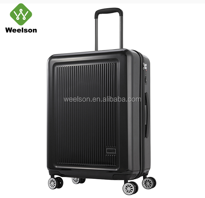 KH7102 20/24inch 2 Pieces ABS+PC Hardside Trolley Luggage Set Black Color