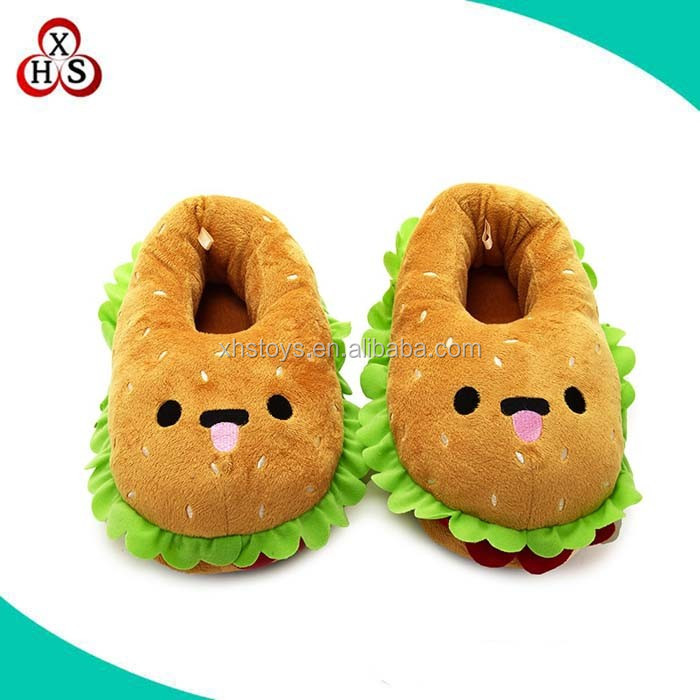 New design funny custom stuffed plush hamburger slippers