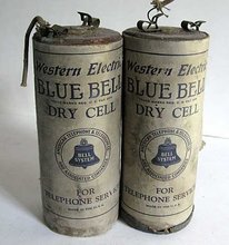 Pair of Antique Western Electric Blue Bell Advertising Dry Cell Collectible Batteries c1915