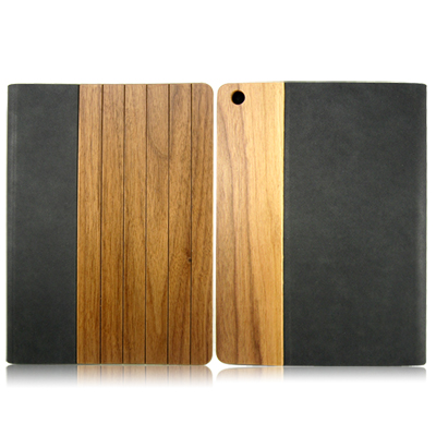High quantity PU leather case for ipad5,wooden leather case