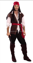 New design pirate costume ship captain fashion cheap Wholesale Halloween costume for men AGM2083