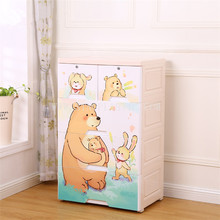 cartoon 3 tier PP plastic clothing cabinet with locks