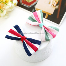 4*6.5cm red white blue Latest Design Lovely Kids Fabric Bow Band Set Fancy Girls Hair Accessories July 4th