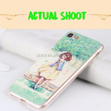 hand made 3d epoxy filling leather patch soft tpu mobile phone case for iPhone 7