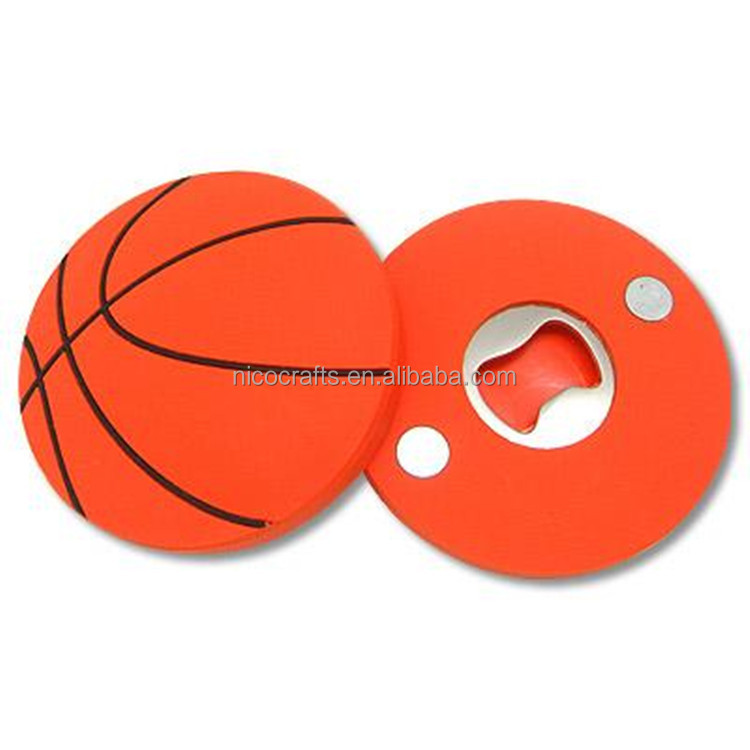 Round Basketball Shape PVC Credit Card Bottle Opener
