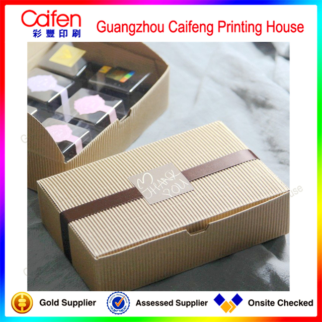100%quality ensure factory custom printing bright brown wave paper gift box