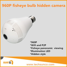 Hidden camera light bulb sd card 360 degree wireless spy cam 1.3MP wifi 2 way audio P2P easy view