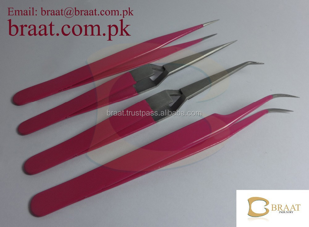 baby pink eyelash extension tweezers for professional use / powder coated pink colour for eyelash extension tweezers