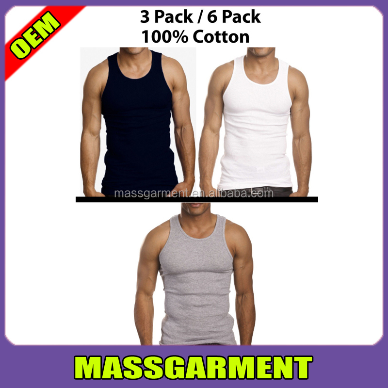 Men 100% Cotton A-Shirt Custom GYM Stringer Cheap Tank Top Wholesale