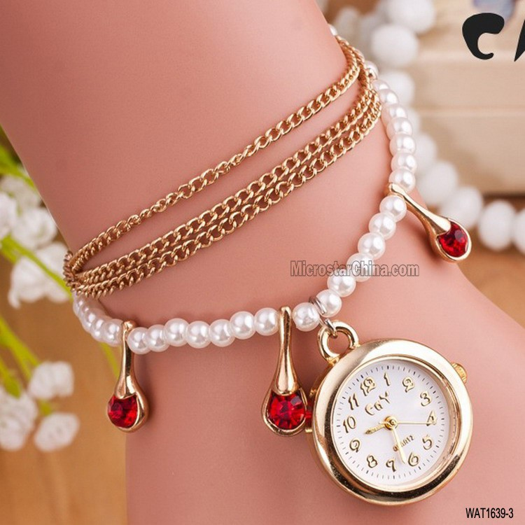 Red rhinestone chain pearl korea mini miniature watch