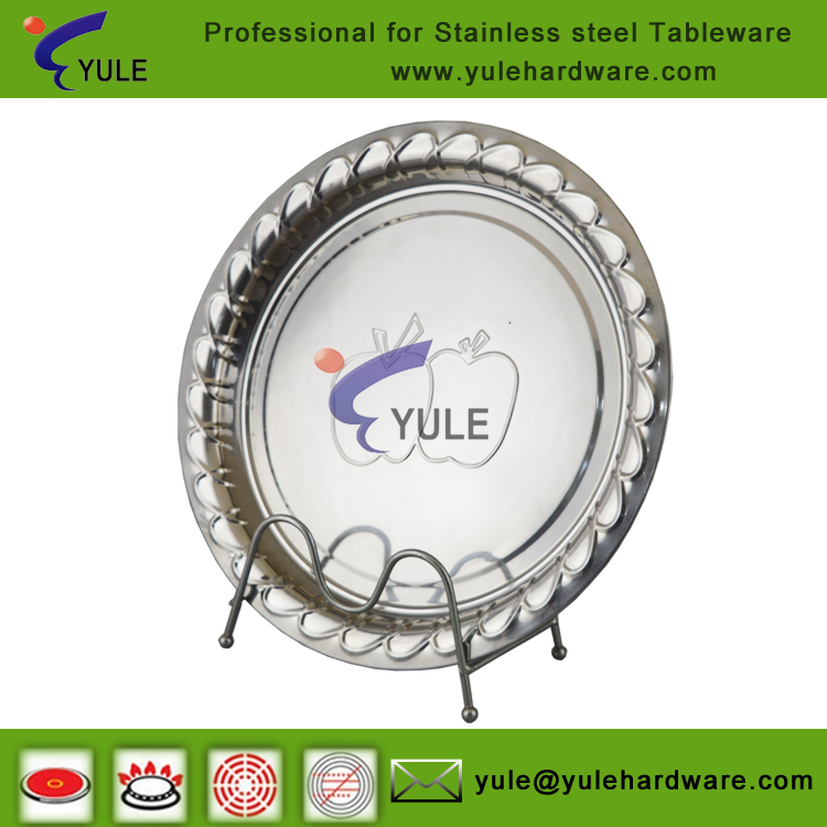 Wholesale stainless Steel food serving round trays